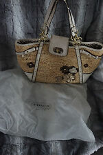 Womens Coach Straw Natalie Floral Purse Handbag Tote Retails for $498