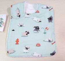 NWT Pug Dog Baby Bib Infant Puppy Gender Neutral Boy Girl Teal Aqua