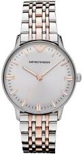 NEW EMPORIO ARMANI SILVER GOLD STAINLESS STEEL LADIES WATCH AR1603