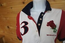 Joules M US 10 Top Specialty Run for Audi Rose Red White Blue Cotton Polo Shirt