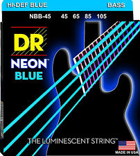 DR NBB-45 4 string Hi-Def Neon Blue Coated Bass Guitar Strings 45-105 MED