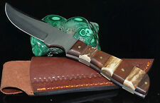 """8.25"""" hand made Skinner Stainless Steel blade Stag & wood Handle hunting Knife"""