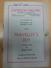 1949 Criterion Theatre programme: TRAVELLER'S JOY by Arthur Macrae