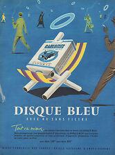 PUBLICITE  TABAC CIGARETTES GAULOISE DISQUE BLEU VILLEMOT  TOBACCO   AD  1957