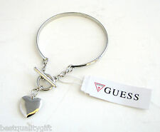 NEW-SILVER TONE GUESS THIN BAND TOGGLE CLASP WOMENS BRACELET+PUFFED HEART CHARM