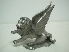 """1982 RAWCLIFFE PEWTER 4 1/8"""" WINGED LION FIGURE ~ SIGNED P. DAVIS"""