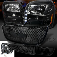 07-11 GMC Yukon Denali Black LED DRL Projector Healdight+Upper Lower Hood Grille