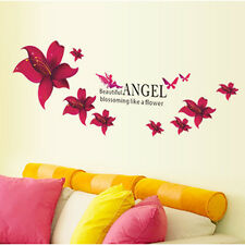 Red Angel Flower Removable Vinyl Decal Wall Sticker Mural Art Room Home Decor