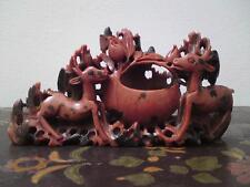 Antique Chinese carved red soapstone spotted deer brush washer