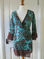 Beautiful Monsoon aqua green and brown floral print silk wrap tunic top sz 8