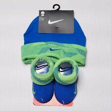 Nike Infant Hat Booties Socks Set 0-6 Months Boy Baby Shower Gift Blue Green