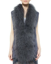 Haute Hippie vest Dyed Mongolian lamb fur collar XS $900 leather jacket wool