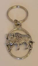 Fine English Pewter Wild Boar B Keyring Key Chain Pig