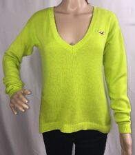 Hollister Sweater Neon Green V-Neck Thin Knit Cotton Blend Sexy Style - Small