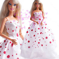 New White Vintage wedding Gown with red spots for Barbie Doll for free shipping