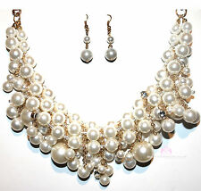 Womens Gold Tone Chunky Bib Mesh Cream Pearl of Wisdom Bridal Dressy Necklace