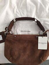 Balenciaga Brown Suede Handbag Motorcycle O Rings & Fringe Zipper Pull W/Dustbag