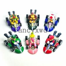 6pcs/Lot Super Mario Bros Karts Pull Back Cars PVC Action Figure Collection