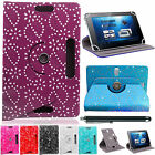 """Bling Diamond UNIVERSAL 360° LEATHER STAND CASE COVER FOR All 7"""" Tablets Android"""