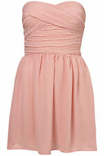 Topshop chiffon bandeau dress by Rare UK 14 in Light Pink ( New )