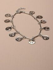 SILVER ANKLET HANGING CASCADING peace sign ANKLE 0048 CHAIN BRACELET