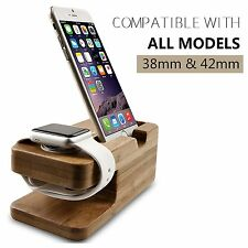 Bamboo Charging Dock Station Charger Holder Stand For Apple Watch iPhone 7 Plus