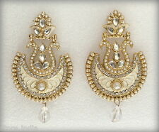 Indian Ethnic Bollywood White Gold Plated Pearls Wedding Bridal Jewelry Earrings