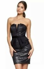 BNWT Lipsy Black Metallic Lace Glitter Peplum Dress Size 10 RRP £65 Party New