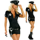 Sexy Black Cop Police Women Costume Officer Outfit Halloween Fancy Dress S-XXL