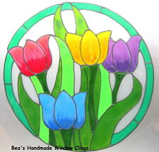 BEA'S TULIP PLAQUE STAINED GLASS EFFECT WINDOW CLING MIRROR  SAFETY STRICKERS