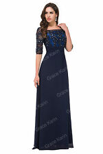 Womens Chiffon+Satin Long FORMAL Ball Gown Evening Party Prom Bridesmaid Dresses