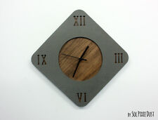 Concrete with Wooden Hole Rhombus Wall Clock - Modern Wall Clock / Latin Numbers