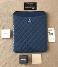 CHANEL BLUE QUILTED PATENT LEATHER CC Logo iPad TABLET CASE NWT Retail $775
