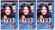 Schwarzkopf LIVE Intense 086 Pure Purple Pro Permanent Hair Colour Dye x 3
