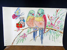 Lovely Watercolor Painting Birds Parrot Love Birds   1940's Original
