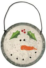Christmas Snowman Head/Face w/Holly Tin/Metal Ornament~Primitive/Country/Vintage