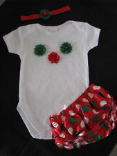 baby clothing girl romper bloomers nappy headband set christmas flowers size 1