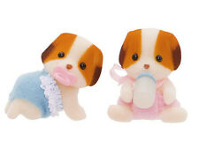 *NEW* SYLVANIAN FAMILIES 5009 Chiffon Dog Twins - Set of 2 Babies 4cm Twin Baby