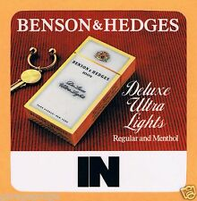 VINTAGE NOS BENSON & HEDGES CIGARETTE DOUBLE SIDED IN / OUT STORE STICKER SIGN