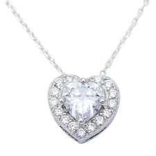 1ct Heart Shape  .925 Sterling Silver Pendant 10x10mm