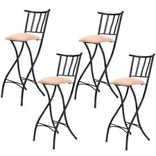 """Set of 4 Folding Bar Stools 28"""" Counter Height Bistro Dining Kitchen Pub Chair"""