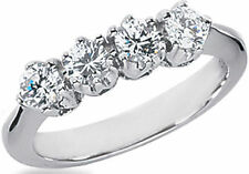0.81 carat DIAMOND WEDDING RING Anniversary Band  F color VS clarity 4 x 0.20 ct