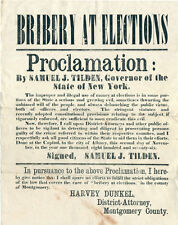 "1876 Broadside ""Bribery at Elections"" Samuel Tilden"