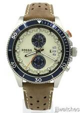 New Fossil Wakefield Tan Genuine Leather Chrono Men Watch 45mm CH2951 $135