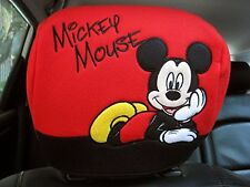 MICKEY MOUSE CAR ACCESSORY 2 PCS HEAD REST SEAT COVER AUTOMOBILE INTERIOR DECOR