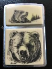 Scrimshaw Grizzly Bear Zippo New with Original Paperwork Chrome Base