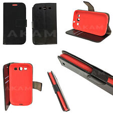 PU Leather Black Book Wallet Flip Case Cover Samsung Galaxy S3 i9300 Red TPU