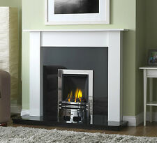 GAS WHITE SURROUND BLACK CHROME GRANITE MODERN WALL CHIMNEY FIRE FIREPLACE SUITE