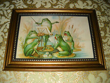 5 FROGS MAKE MUSIC in a gold studded frame is a victorian style print