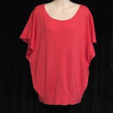 Anthropologie Moth Orange Cotton Short Sleeve Oversize V-Neck Sweater Top Sz L